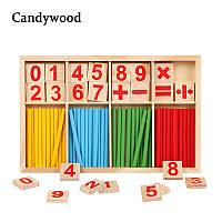 """Обучающая, развивающая игра Candywood  """"Математика"""", деревянная арифметика, фото 1"""