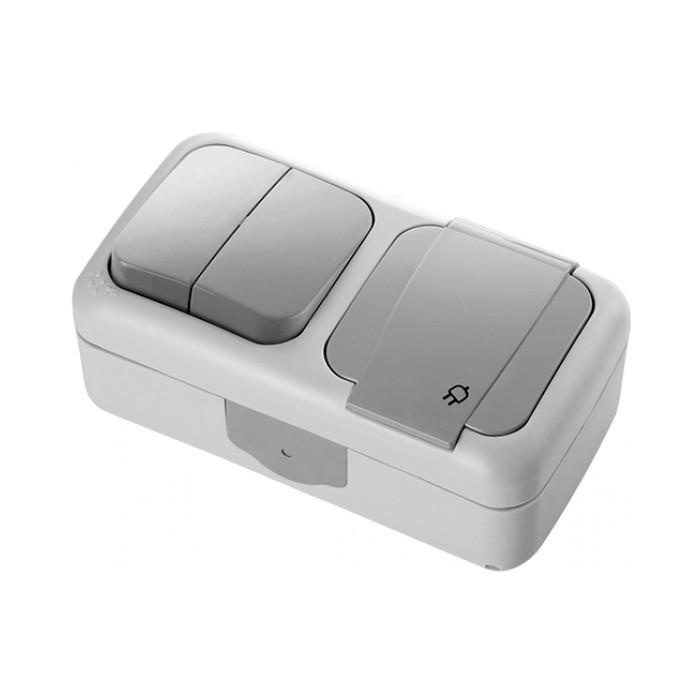 Блок выключатель двухклавишный + розетка с заземлением VIKO Palmiye IP54 (90555582)