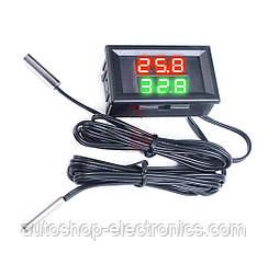Встраиваемый автомобильный цифровой LED ТЕРМОМЕТР (4 - 28 В) с двумя выносными датчиками температуры