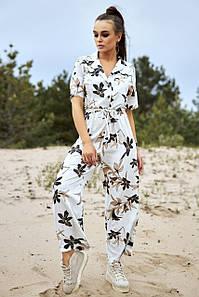 Летний женский комбинезон - кюлоты с цветочным принтом