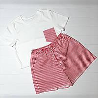 Комплект женский из трикотажной футболки и шортов с карманами в красную полоску из сатина премиум