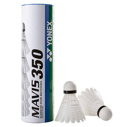 Воланы для бадминтона нейлоновые Mavis Yonex 350, белый, набор из 6 шт., фото 2