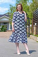 Женское нарядное платье с шифоном. Размер 50-58