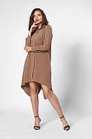 Очаровательная легкая удлиненная  рубашка-туника бежевый, фото 1