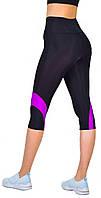 Спортивные женские бриджи для фитнеса с высокой посадкой, капри для спорта с утяжкой Valeri 1237 с розовым