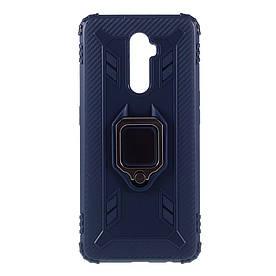 Чехол накладка для Realme X2 Pro противоударный с магнитным кольцом, Shell, Синий