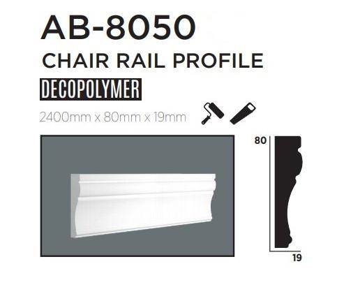 Молдинг для стен, гладкий, DECOLUX АВ8050, лепной декор из дюрополимера