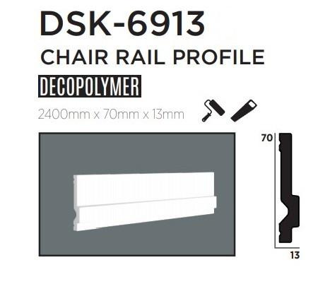 Молдинг для стен, гладкий, DECOLUX DSK-6913, лепной декор из дюрополимера