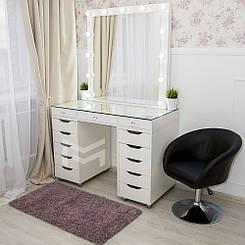 Гримерный столик со стеклянной столешницей М622,зеркало в РАМЕ
