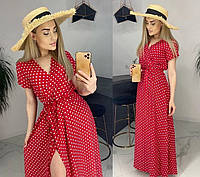 Красное летнее длинное нарядное платье в горошек с запахом