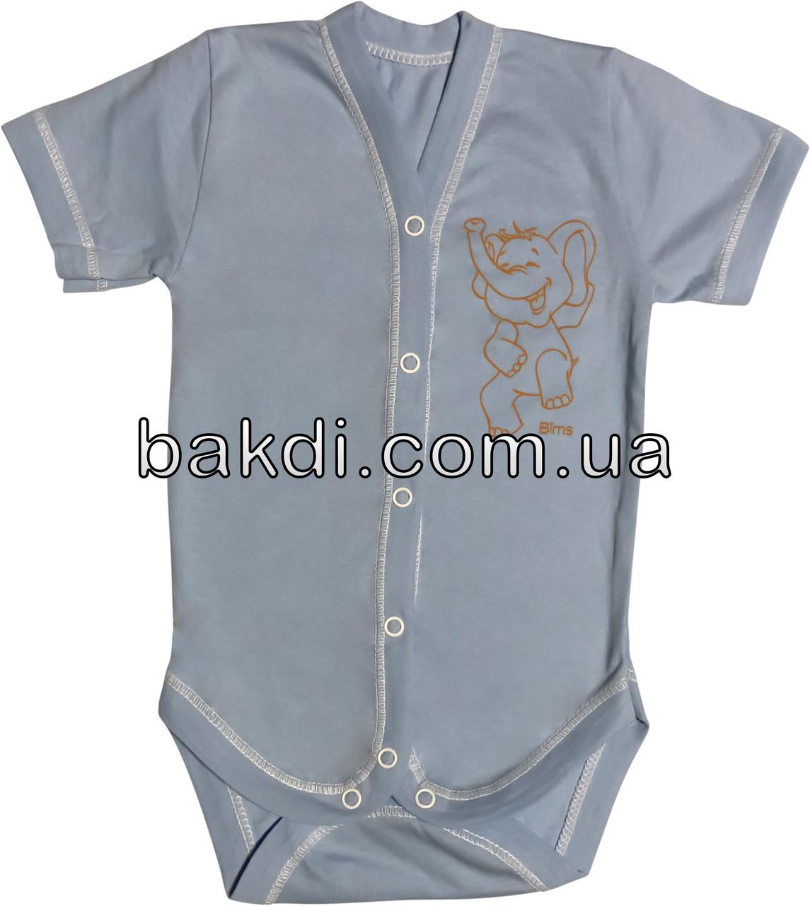 Дитяче літнє тонке боді ріст 86 1-1,5 року кулір блакитне на хлопчика бодік з коротким рукавом для