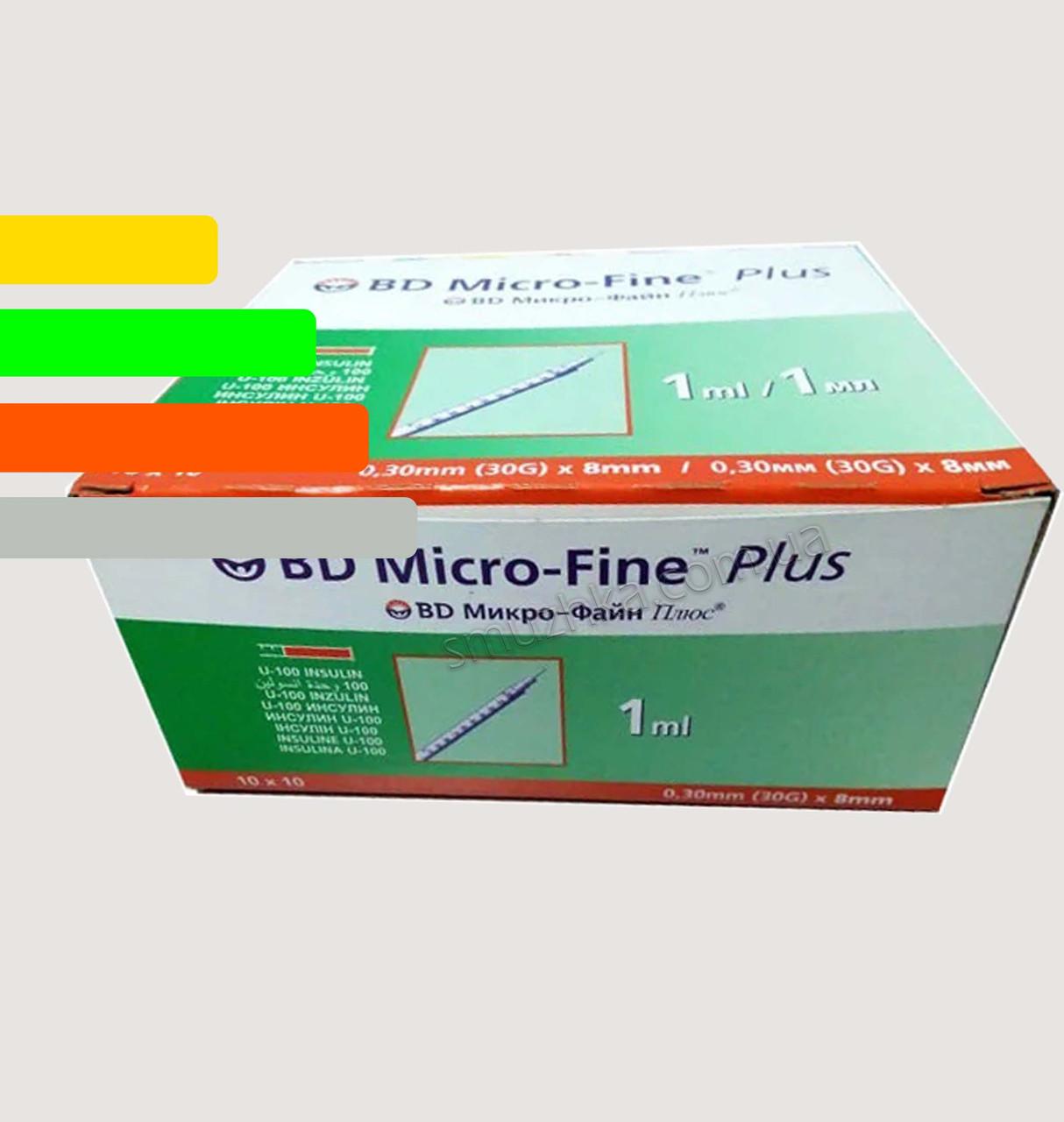 Шприц инсулиновый BD Micro-fine Plus-Микрофайн 1ml, игла 8мм уп. 100 шт.