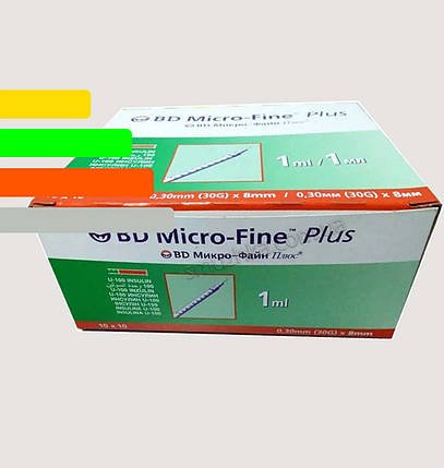 Шприц инсулиновый BD Micro-fine Plus-Микрофайн 1ml, игла 8мм уп. 100 шт., фото 2