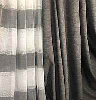 Современный льняной тюль c декоративными серыми полосками по низу, возможность подобрать штору и пошив