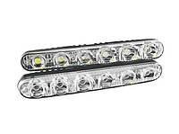 Светодиодные LED дневные ходовые огни DRL ДХО в корпусе, 6 диодов, 17см