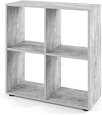 Стеллаж для дома, перегородка, книжный шкаф из ДСП 4 открытых отсека, Дуб Сонома, фото 3