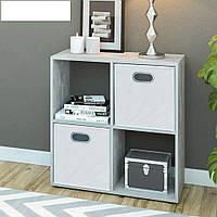 Стеллаж для дома, перегородка, книжный шкаф из ДСП 4 открытых отсека, Белый