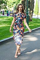 Легкое летнее платье с коротким рукавом (40-46) за колено