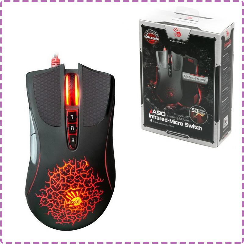 Игровая мышка A4Tech A90A Bloody Black, USB геймерская мышь а4теч блади блуди для компьютера, пк, ноутбука