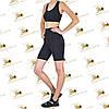 Жіночий спортивний комплект шорти-велосипедки з кишенями і топ чорного кольору, фото 3