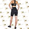 Жіночий спортивний комплект шорти-велосипедки з кишенями і топ чорного кольору, фото 2