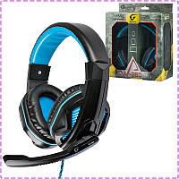 Игровые наушники с микрофоном Gemix W-360 Black/Blue, игровая гарнитура