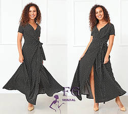 Бежеве довге літнє плаття великого розміру на запах в горошок, фото 3