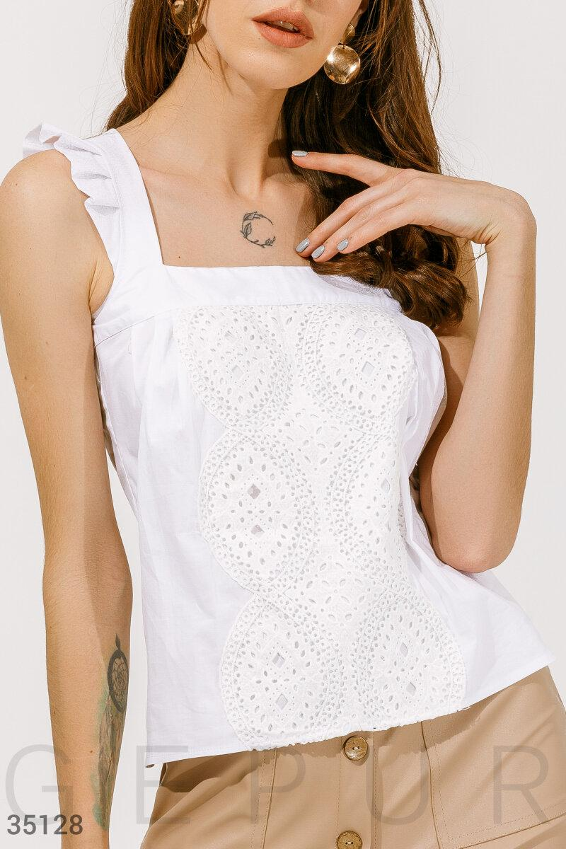 Бавовняна блуза з вишивкою