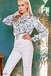 Свободная блуза в цветочек с завязками, фото 3