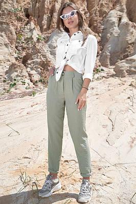 Штани літні жіночі бавовняні з високою посадкою оливкові