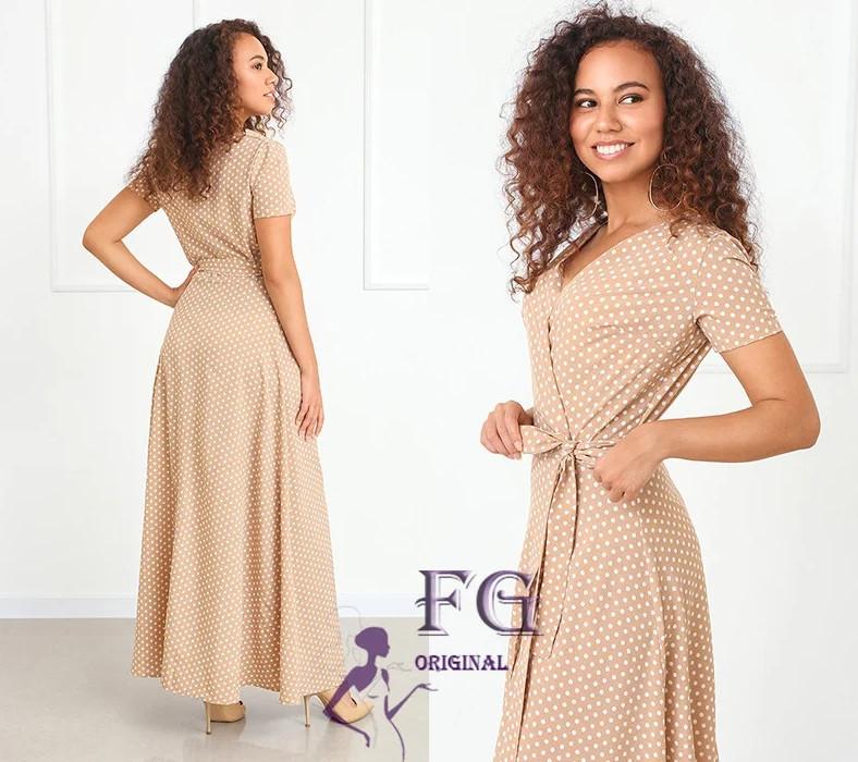 Бежеве довге літнє плаття великого розміру на запах в горошок
