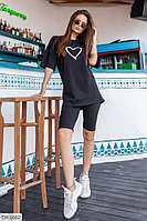 Костюм женский футболка оверсайз и велосипедки, фото 1