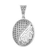 Кулон серебряный медальон с камнями, фото 1