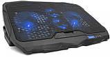 Подставка охлаждающая для ноутбука 4 вентилятора, диагональ 9-17 дюймов чёрный S18, фото 2