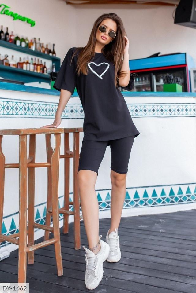 Костюм женский футболка оверсайз и велосипедки
