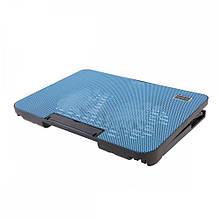 Подставка охлаждающая для ноутбука 2 вентилятора, диагональ 9-17 дюймов чёрный с голубым N99