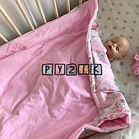 Велюровий плед-конверт з фіксуючою резинкою 100х80 см, рожевий