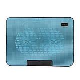 Подставка охлаждающая для ноутбука 2 вентилятора, диагональ 9-17 дюймов чёрный с голубым N99, фото 2