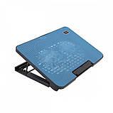 Подставка охлаждающая для ноутбука 2 вентилятора, диагональ 9-17 дюймов чёрный с голубым N99, фото 5
