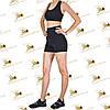 Женский спортивный комплект шорты с эффектом утяжки и топ черного цвета, фото 2