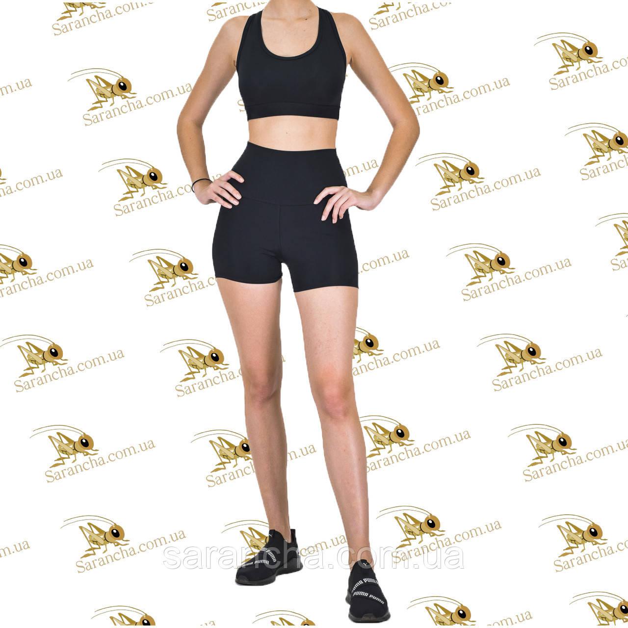 Женский спортивный комплект шорты с эффектом утяжки и топ черного цвета