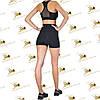 Женский спортивный комплект шорты с эффектом утяжки и топ черного цвета, фото 3