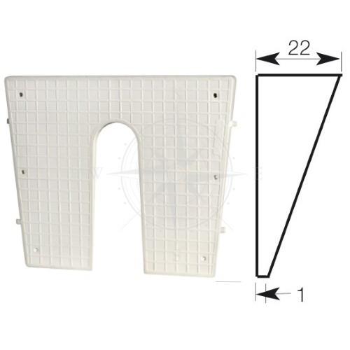 Накладка транцевая, клиновидная, 420×340 мм, пластик, белый, Osculati.