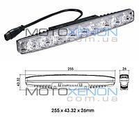 Светодиодные LED дневные ходовые огни DRL ДХО в корпусе, 9 диодов, 25,5см