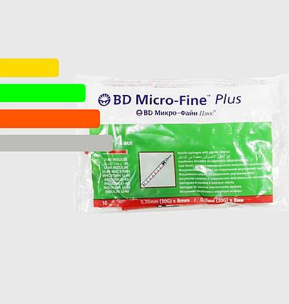 Инсулиновый шприц с интегрированной иглой U-40 BD Micro-fine Plus 1ml уп. 100 шт., фото 2