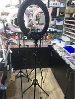 Кольцевая селфи лампа 45 см для макияжа на штативе LED RL-18 / 55W