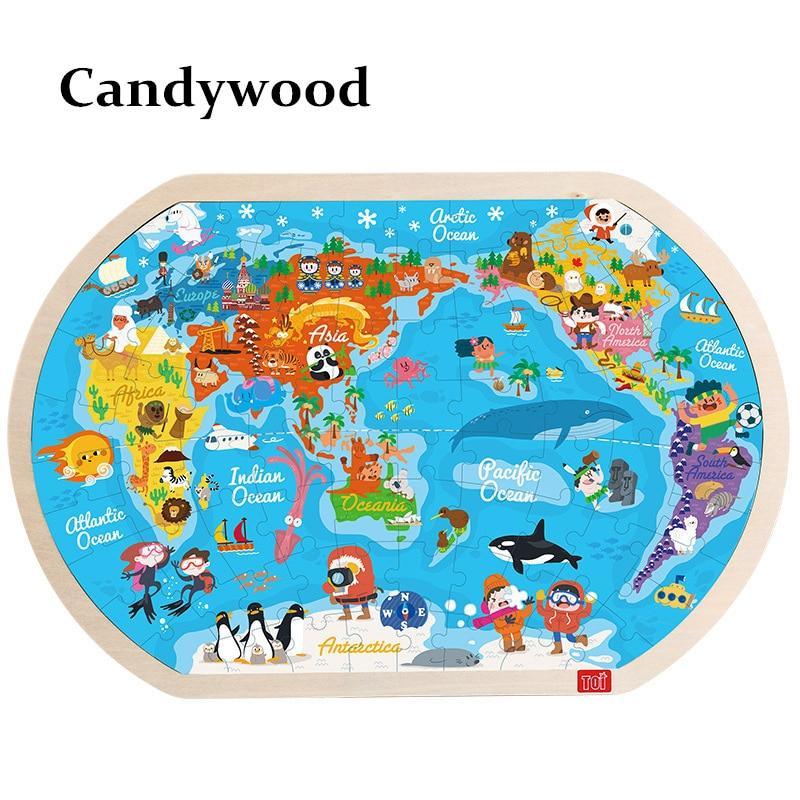 """Большой деревянный пазл Candywood """"Карта мира"""""""