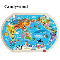 """Большой деревянный пазл Candywood """"Карта мира"""", фото 1"""