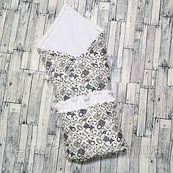 Велюровый плед-конверт с фиксирующей резинкой 100х80 см, белый