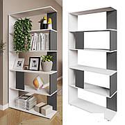 Высокий стеллаж для дома, перегородка, книжный шкаф из ДСП 5 отделений, Венге магия